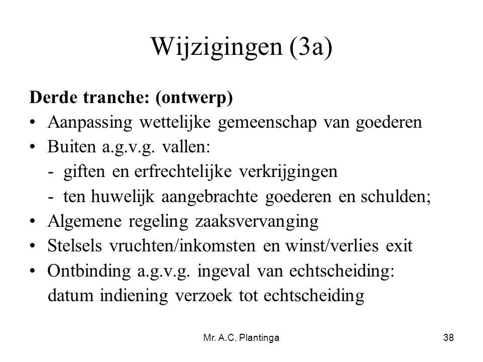 Mr. A.C. Plantinga38 Wijzigingen (3a) Derde tranche: (ontwerp) •Aanpassing wettelijke gemeenschap van goederen •Buiten a.g.v.g. vallen: - giften en er