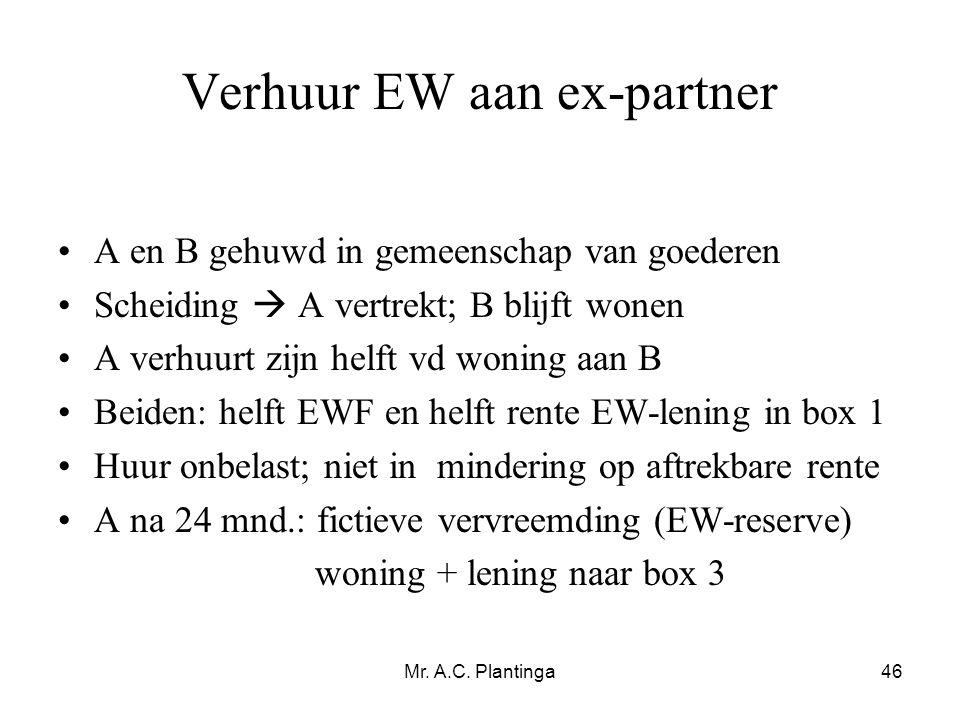 Mr. A.C. Plantinga46 Verhuur EW aan ex-partner •A en B gehuwd in gemeenschap van goederen •Scheiding  A vertrekt; B blijft wonen •A verhuurt zijn hel