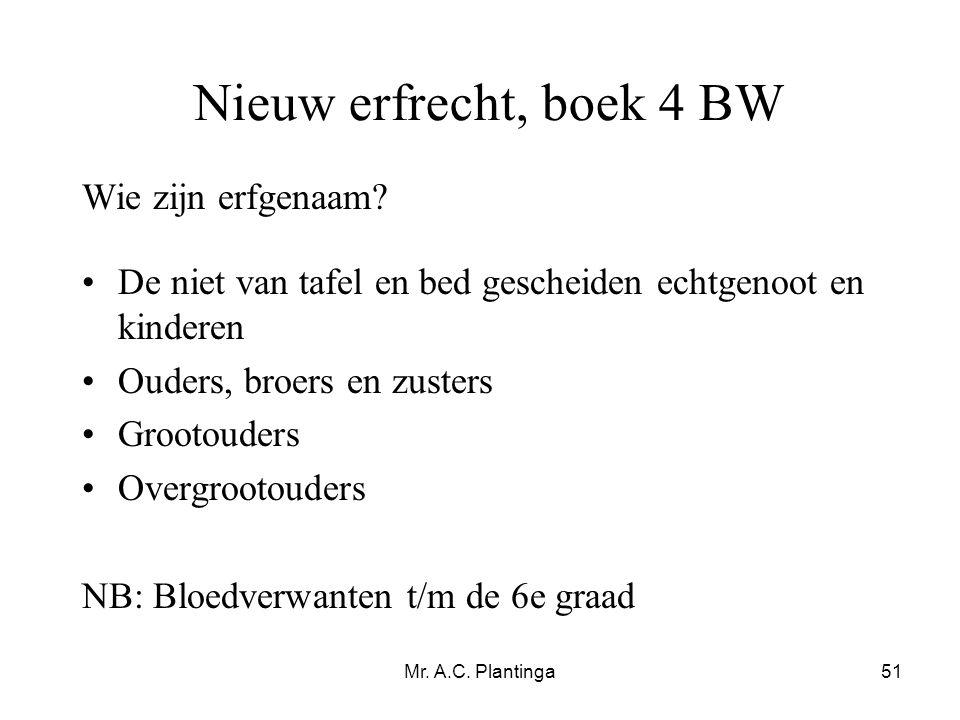 Mr. A.C. Plantinga51 Nieuw erfrecht, boek 4 BW Wie zijn erfgenaam? •De niet van tafel en bed gescheiden echtgenoot en kinderen •Ouders, broers en zust