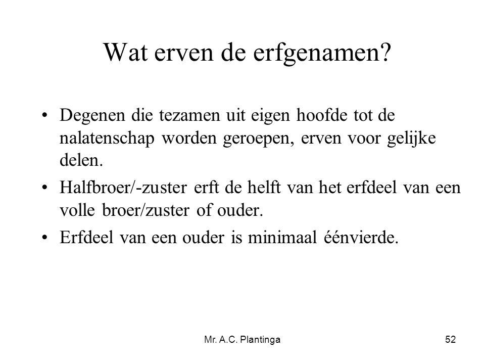 Mr. A.C. Plantinga52 Wat erven de erfgenamen? •Degenen die tezamen uit eigen hoofde tot de nalatenschap worden geroepen, erven voor gelijke delen. •Ha