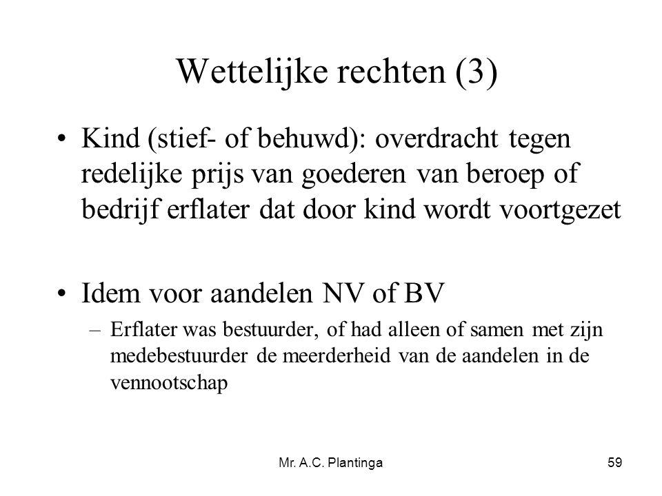 Mr. A.C. Plantinga59 Wettelijke rechten (3) •Kind (stief- of behuwd): overdracht tegen redelijke prijs van goederen van beroep of bedrijf erflater dat