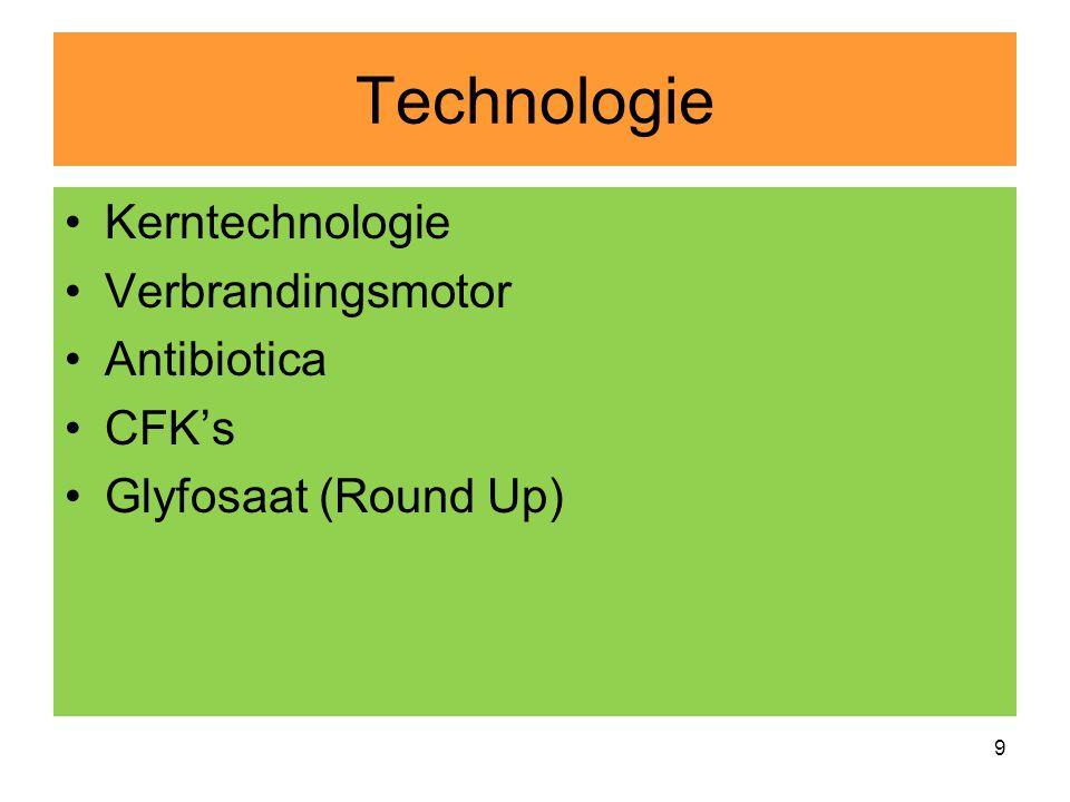 Technologie •Kerntechnologie •Verbrandingsmotor •Antibiotica •CFK's •Glyfosaat (Round Up) 9