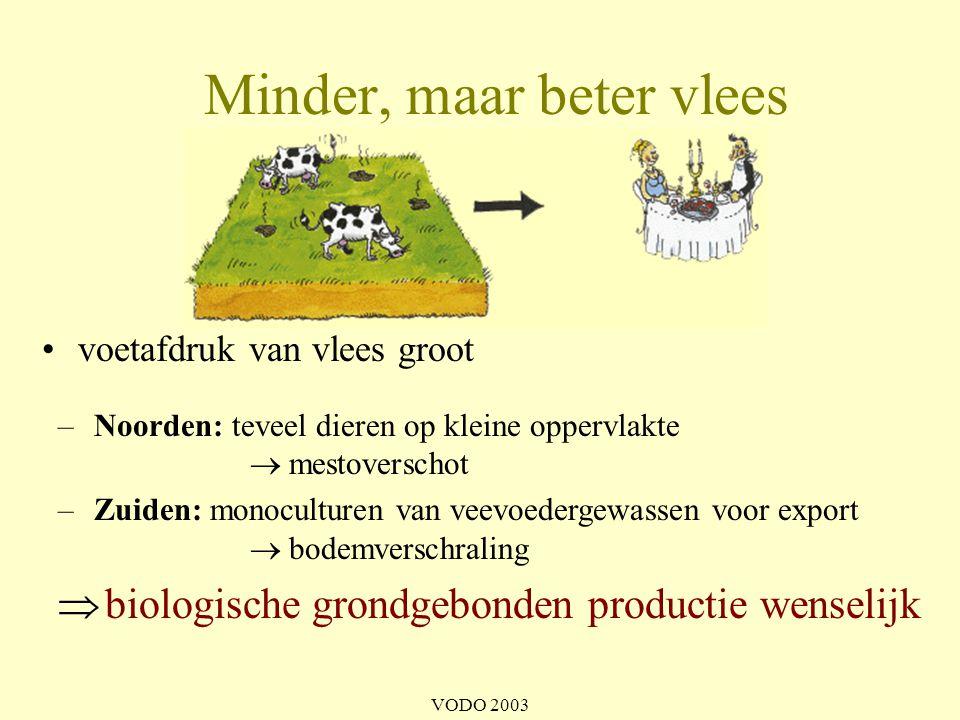VODO 2003 –seizoensgroenten en –fruit eten (meer rauwkost) –voor bioproducten kiezen –lokaal kopen (thuisverkoop/boerenmarkt/voedselteam) meer mensen gevoed •Wat kan u doen.