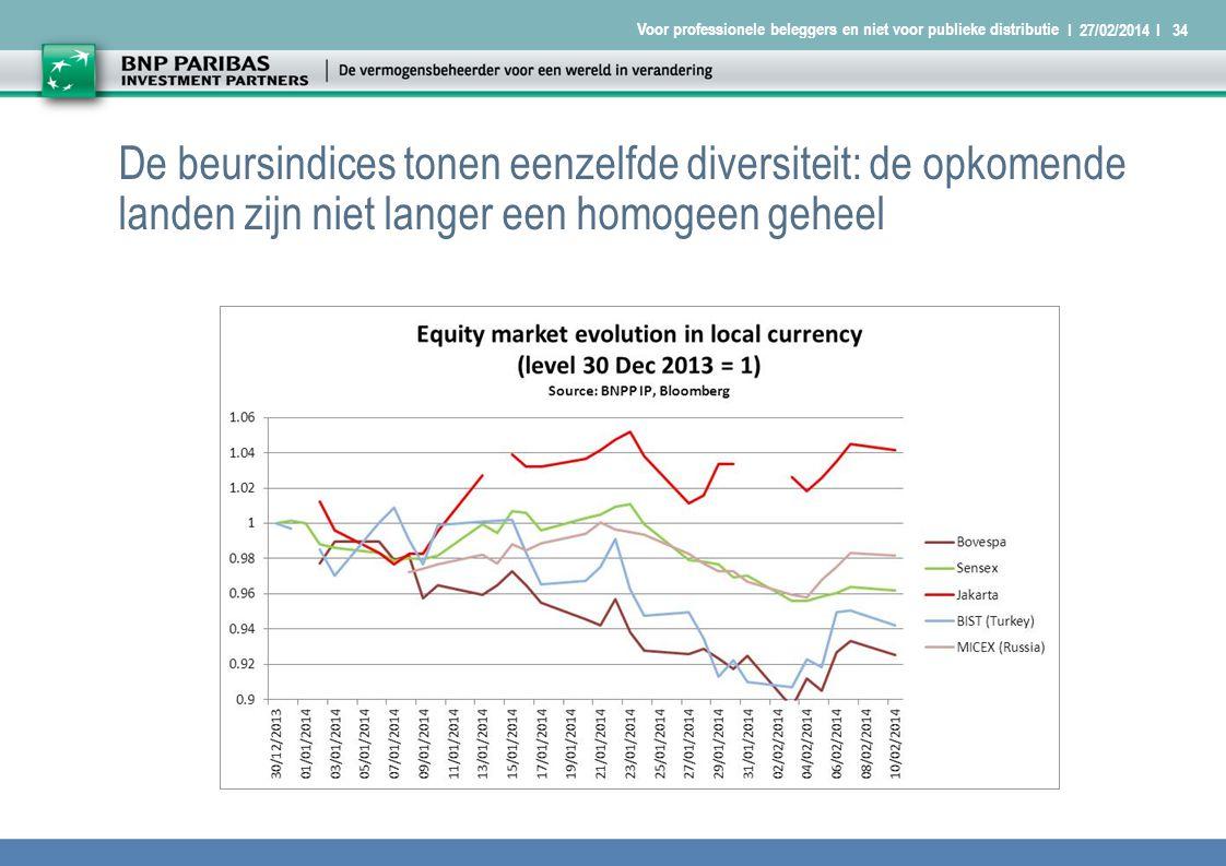 I 27/02/2014 I34 Voor professionele beleggers en niet voor publieke distributie De beursindices tonen eenzelfde diversiteit: de opkomende landen zijn niet langer een homogeen geheel