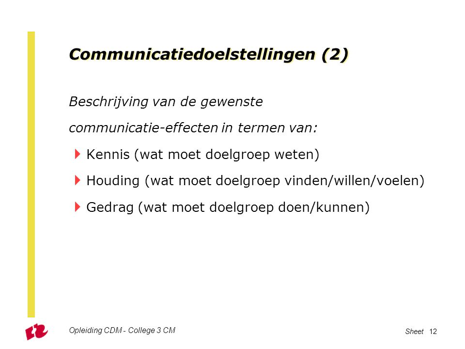 Opleiding CDM - College 3 CM Sheet 12 Communicatiedoelstellingen (2) Beschrijving van de gewenste communicatie-effecten in termen van:  Kennis (wat m