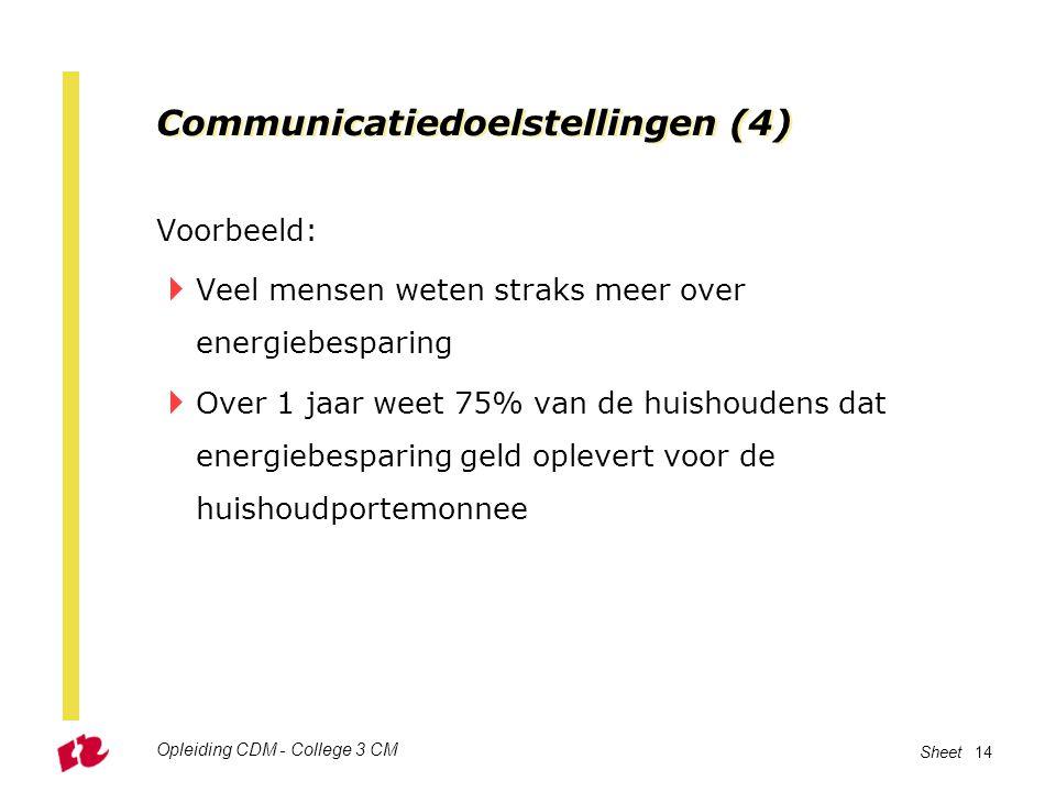 Opleiding CDM - College 3 CM Sheet 14 Communicatiedoelstellingen (4) Voorbeeld:  Veel mensen weten straks meer over energiebesparing  Over 1 jaar we