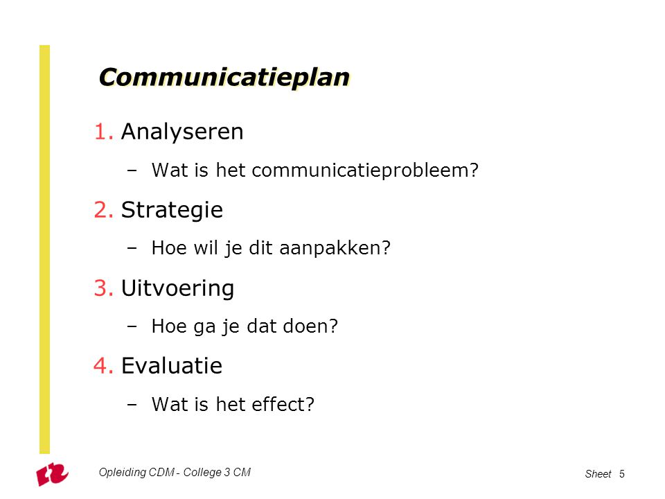 Opleiding CDM - College 3 CM Sheet 5 Communicatieplan 1.Analyseren –Wat is het communicatieprobleem.