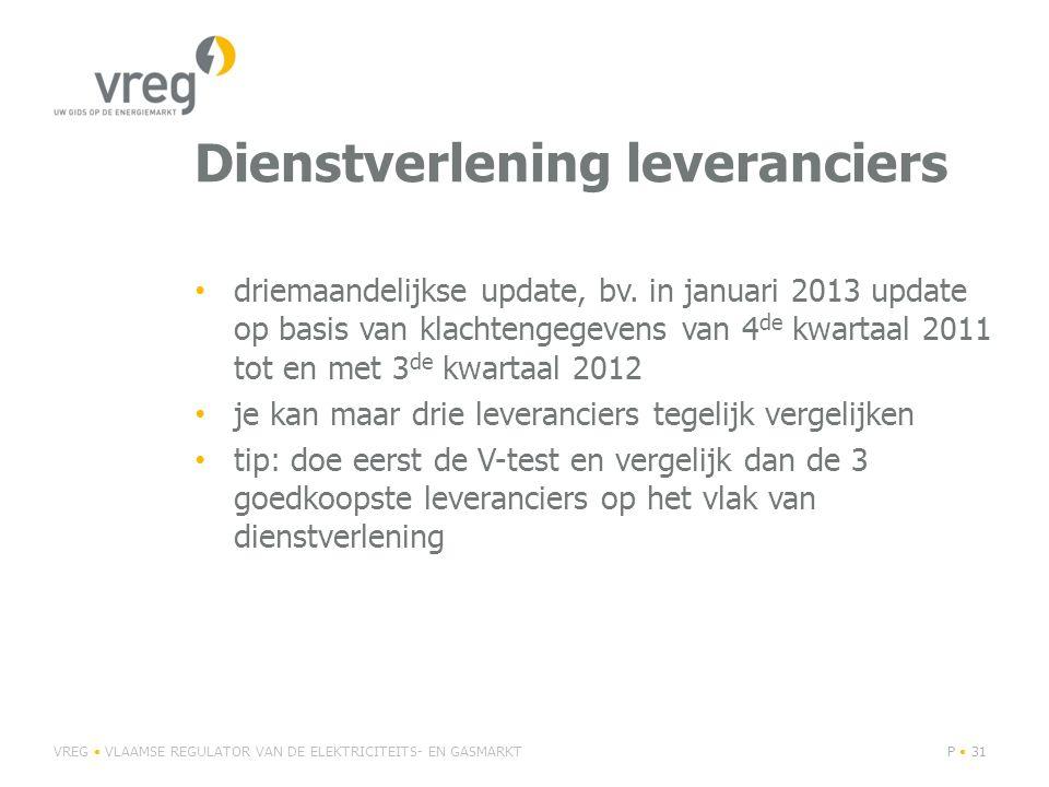 Dienstverlening leveranciers • driemaandelijkse update, bv.