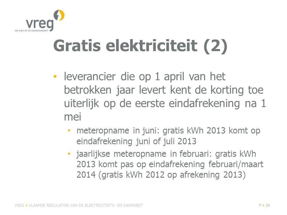 Gratis elektriciteit (2) • leverancier die op 1 april van het betrokken jaar levert kent de korting toe uiterlijk op de eerste eindafrekening na 1 mei • meteropname in juni: gratis kWh 2013 komt op eindafrekening juni of juli 2013 • jaarlijkse meteropname in februari: gratis kWh 2013 komt pas op eindafrekening februari/maart 2014 (gratis kWh 2012 op afrekening 2013) VREG • VLAAMSE REGULATOR VAN DE ELEKTRICITEITS- EN GASMARKTP • 34