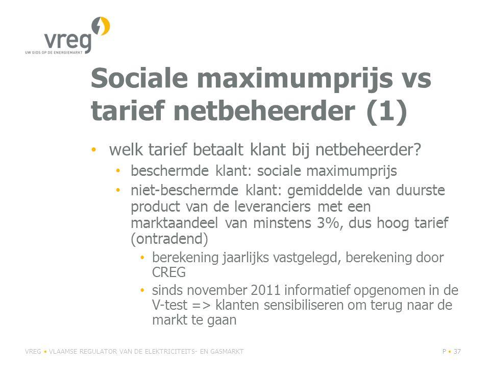 Sociale maximumprijs vs tarief netbeheerder (1) • welk tarief betaalt klant bij netbeheerder.