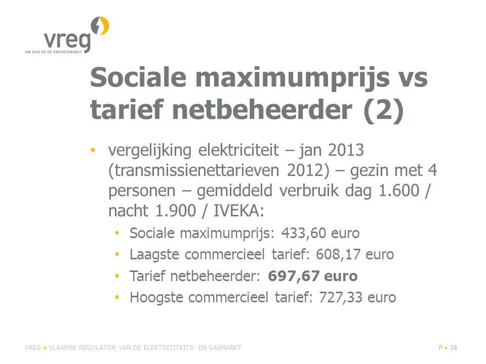Sociale maximumprijs vs tarief netbeheerder (2) • vergelijking elektriciteit – jan 2013 (transmissienettarieven 2012) – gezin met 4 personen – gemiddeld verbruik dag 1.600 / nacht 1.900 / IVEKA: • Sociale maximumprijs: 433,60 euro • Laagste commercieel tarief: 608,17 euro • Tarief netbeheerder: 697,67 euro • Hoogste commercieel tarief: 727,33 euro VREG • VLAAMSE REGULATOR VAN DE ELEKTRICITEITS- EN GASMARKTP • 38