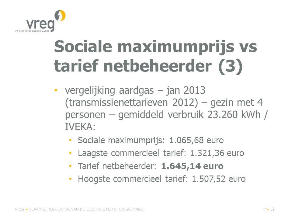 Sociale maximumprijs vs tarief netbeheerder (3) • vergelijking aardgas – jan 2013 (transmissienettarieven 2012) – gezin met 4 personen – gemiddeld verbruik 23.260 kWh / IVEKA: • Sociale maximumprijs: 1.065,68 euro • Laagste commercieel tarief: 1.321,36 euro • Tarief netbeheerder: 1.645,14 euro • Hoogste commercieel tarief: 1.507,52 euro VREG • VLAAMSE REGULATOR VAN DE ELEKTRICITEITS- EN GASMARKTP • 39