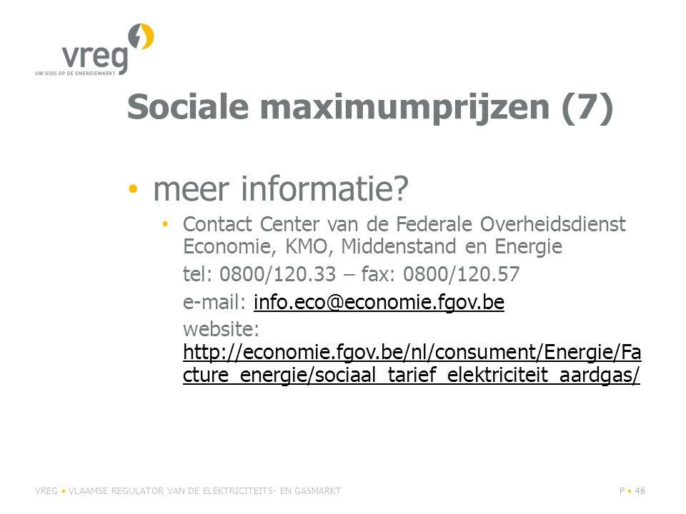 Sociale maximumprijzen (7) • meer informatie.