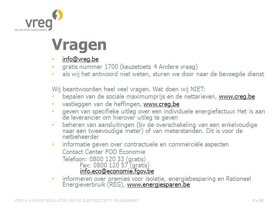 Vragen • info@vreg.be info@vreg.be • gratis nummer 1700 (keuzetoets 4 Andere vraag) • als wij het antwoord niet weten, sturen we door naar de bevoegde dienst Wij beantwoorden heel veel vragen.