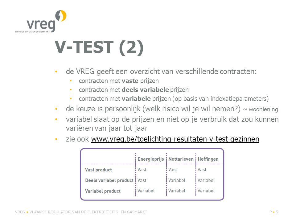 V-TEST (2) • de VREG geeft een overzicht van verschillende contracten: • contracten met vaste prijzen • contracten met deels variabele prijzen • contracten met variabele prijzen (op basis van indexatieparameters) • de keuze is persoonlijk (welk risico wil je wil nemen ) ~ woonlening • variabel slaat op de prijzen en niet op je verbruik dat zou kunnen variëren van jaar tot jaar • zie ook www.vreg.be/toelichting-resultaten-v-test-gezinnenwww.vreg.be/toelichting-resultaten-v-test-gezinnen VREG • VLAAMSE REGULATOR VAN DE ELEKTRICITEITS- EN GASMARKTP • 9P • 9