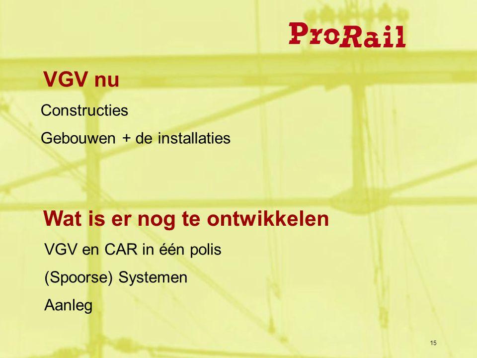 15 Wat is er nog te ontwikkelen VGV en CAR in één polis (Spoorse) Systemen Aanleg VGV nu Constructies Gebouwen + de installaties