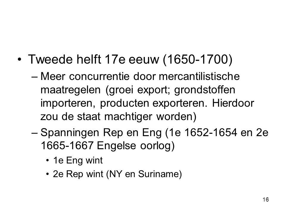 •Tweede helft 17e eeuw (1650-1700) –Meer concurrentie door mercantilistische maatregelen (groei export; grondstoffen importeren, producten exporteren.