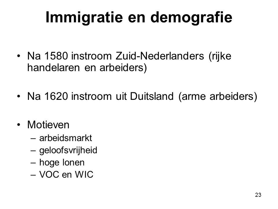 Immigratie en demografie •Na 1580 instroom Zuid-Nederlanders (rijke handelaren en arbeiders) •Na 1620 instroom uit Duitsland (arme arbeiders) •Motieve