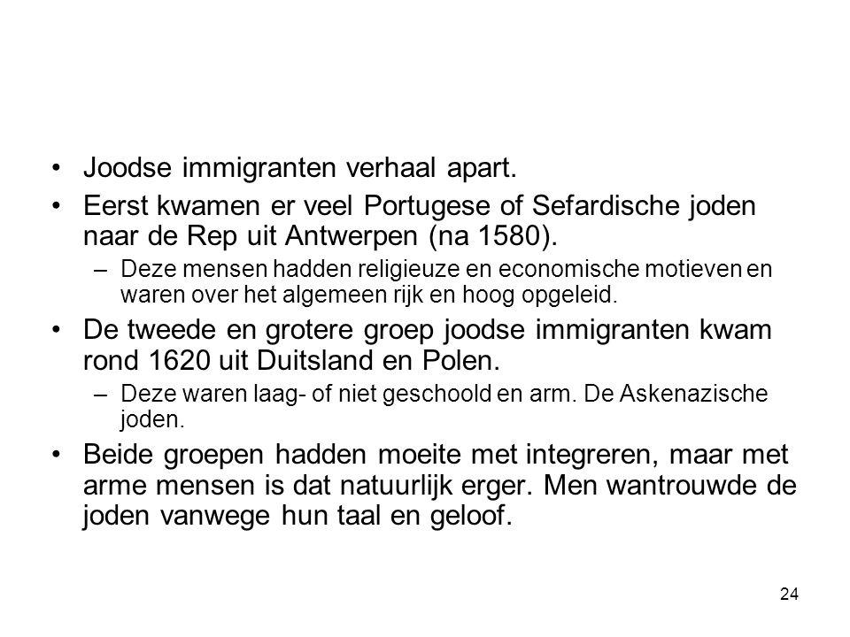 •Joodse immigranten verhaal apart. •Eerst kwamen er veel Portugese of Sefardische joden naar de Rep uit Antwerpen (na 1580). –Deze mensen hadden relig