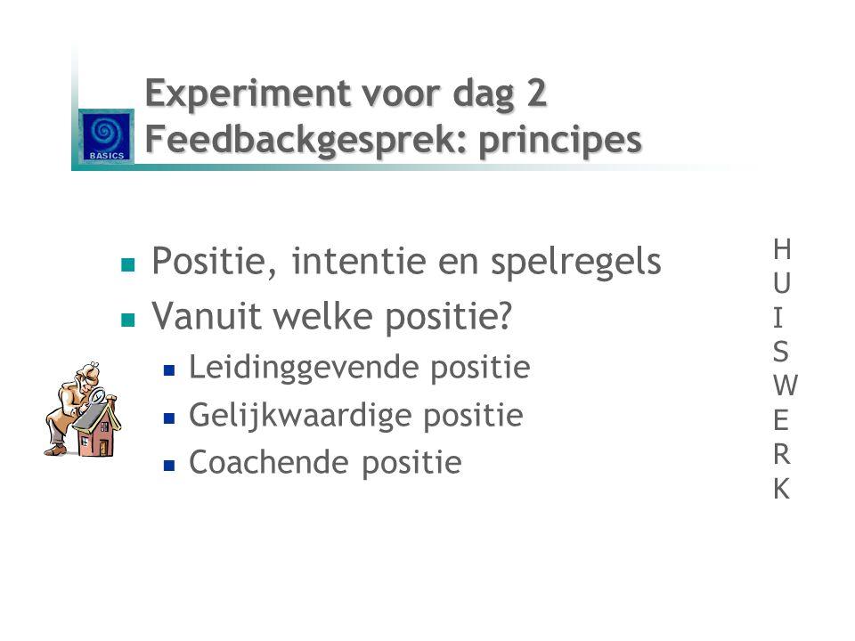  Positie, intentie en spelregels  Vanuit welke positie?  Leidinggevende positie  Gelijkwaardige positie  Coachende positie Experiment voor dag 2