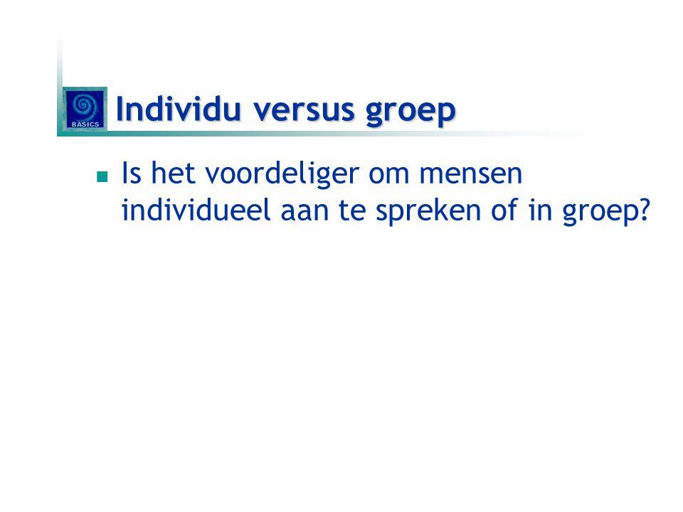 Individu versus groep  Is het voordeliger om mensen individueel aan te spreken of in groep?