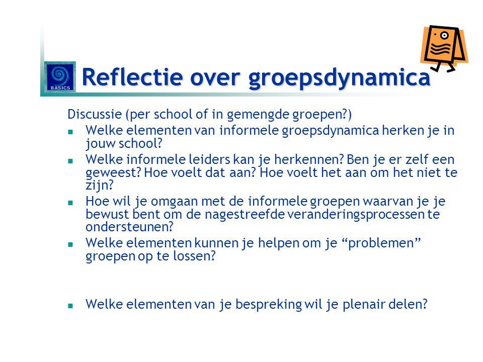 Reflectie over groepsdynamica Discussie (per school of in gemengde groepen?)  Welke elementen van informele groepsdynamica herken je in jouw school?