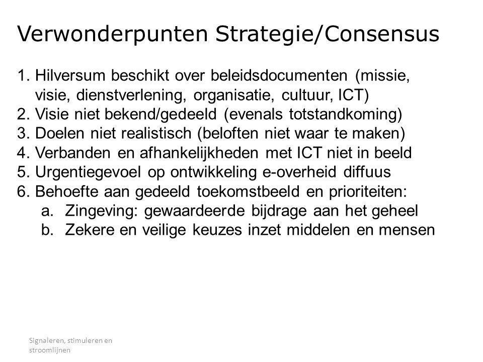 Verwonderpunten Strategie/Consensus Signaleren, stimuleren en stroomlijnen 1.Hilversum beschikt over beleidsdocumenten (missie, visie, dienstverlening