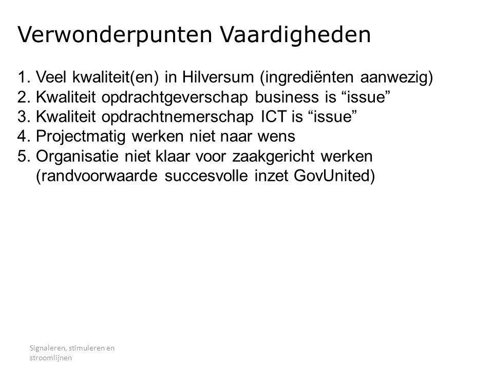 Verwonderpunten Vaardigheden Signaleren, stimuleren en stroomlijnen 1.Veel kwaliteit(en) in Hilversum (ingrediënten aanwezig) 2.Kwaliteit opdrachtgeve
