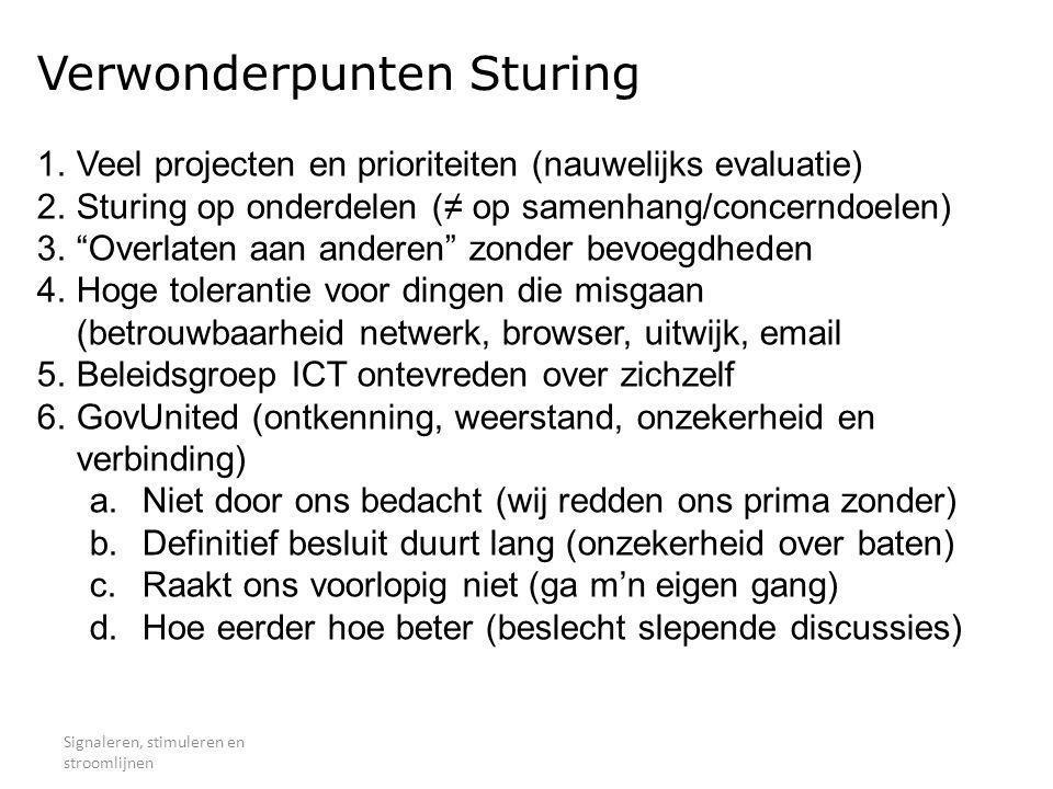 Verwonderpunten Sturing Signaleren, stimuleren en stroomlijnen 1.Veel projecten en prioriteiten (nauwelijks evaluatie) 2.Sturing op onderdelen (≠ op s