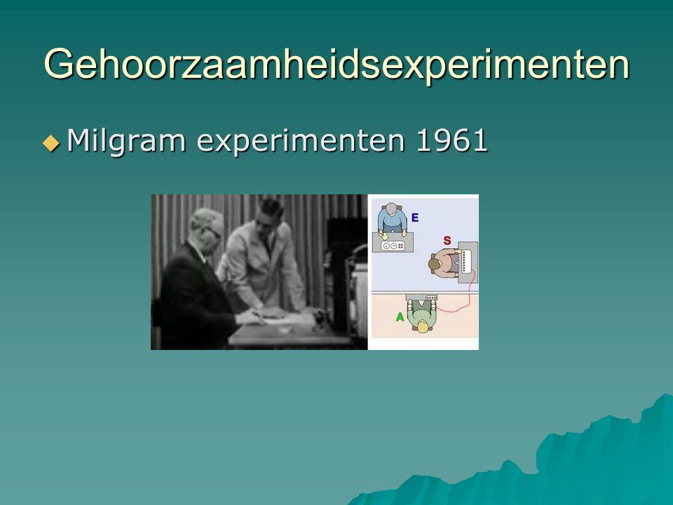 Gehoorzaamheidsexperimenten  Milgram experimenten 1961