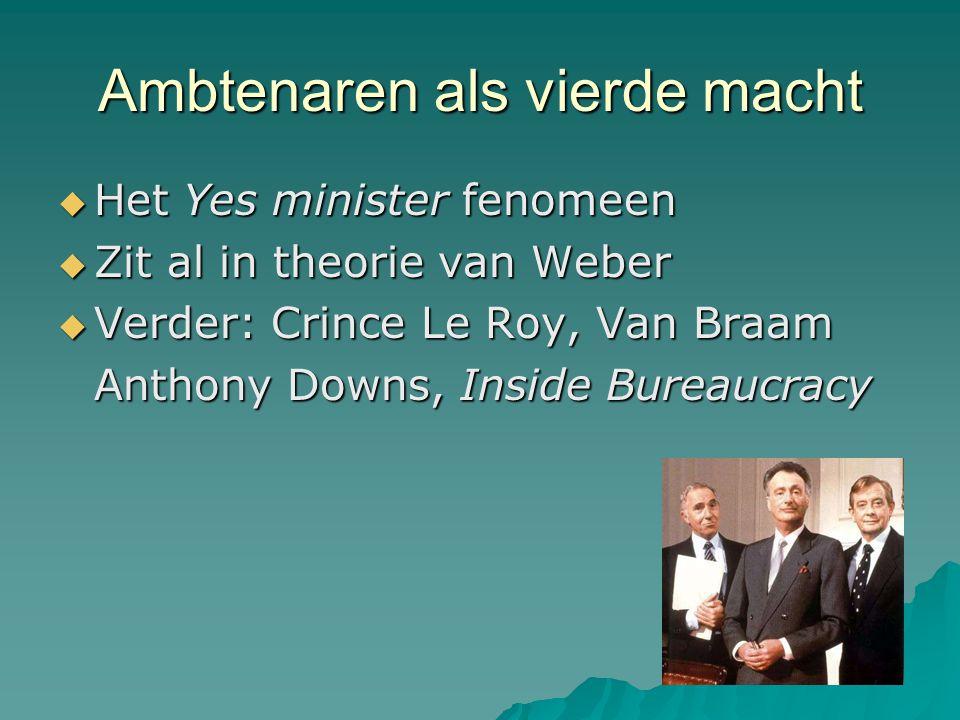 Ambtenaren als vierde macht  Het Yes minister fenomeen  Zit al in theorie van Weber  Verder: Crince Le Roy, Van Braam Anthony Downs, Inside Bureauc