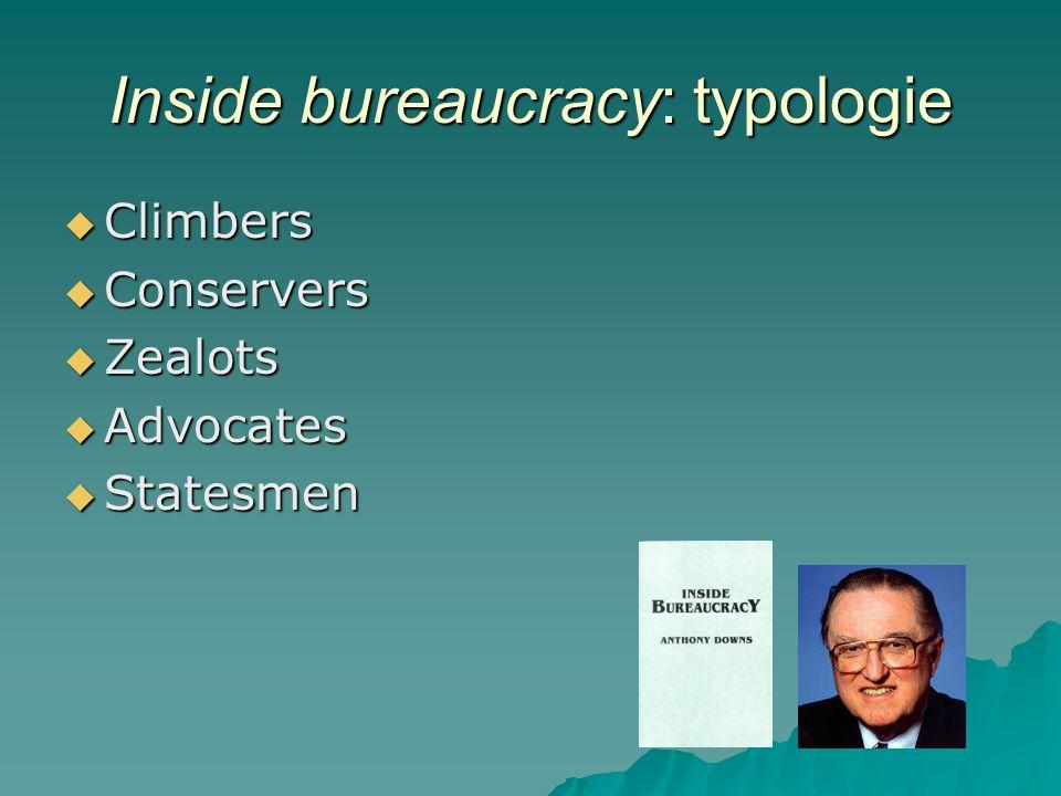 Inside bureaucracy: typologie  Climbers  Conservers  Zealots  Advocates  Statesmen