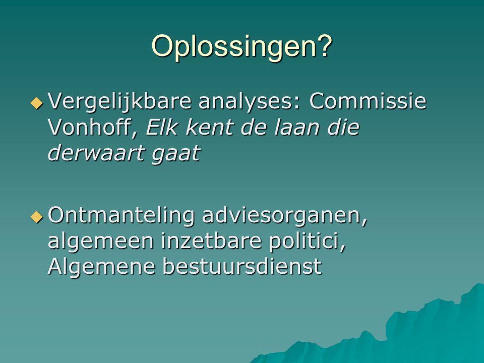 Oplossingen?  Vergelijkbare analyses: Commissie Vonhoff, Elk kent de laan die derwaart gaat  Ontmanteling adviesorganen, algemeen inzetbare politici