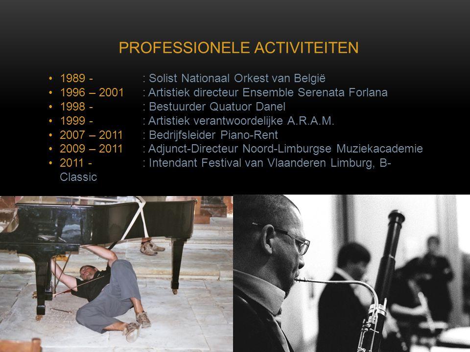 •1989 - : Solist Nationaal Orkest van België •1996 – 2001: Artistiek directeur Ensemble Serenata Forlana •1998 - : Bestuurder Quatuor Danel •1999 - :