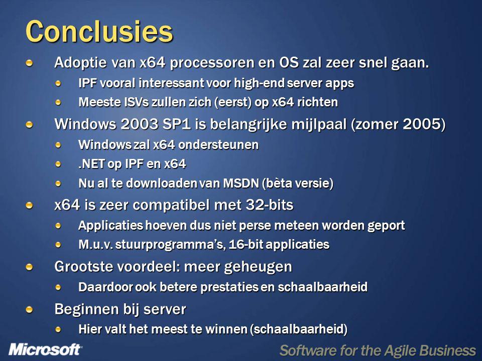 Conclusies Adoptie van x64 processoren en OS zal zeer snel gaan. IPF vooral interessant voor high-end server apps Meeste ISVs zullen zich (eerst) op x
