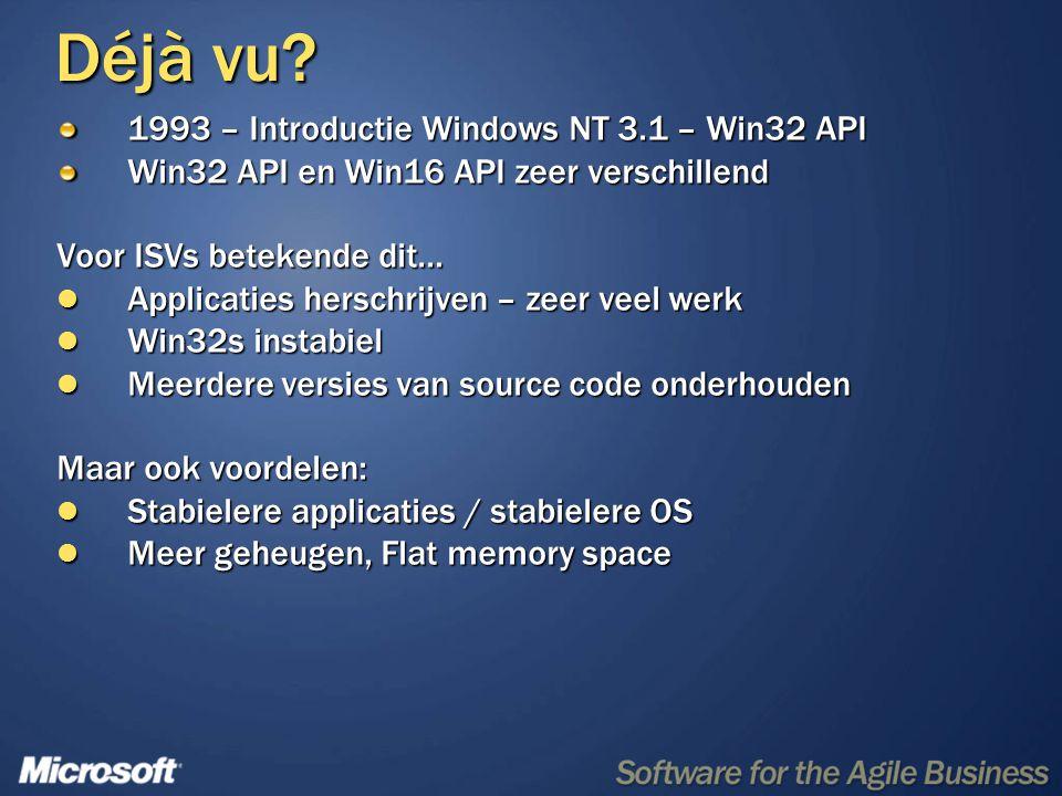 Déjà vu? 1993 – Introductie Windows NT 3.1 – Win32 API Win32 API en Win16 API zeer verschillend Voor ISVs betekende dit…  Applicaties herschrijven –