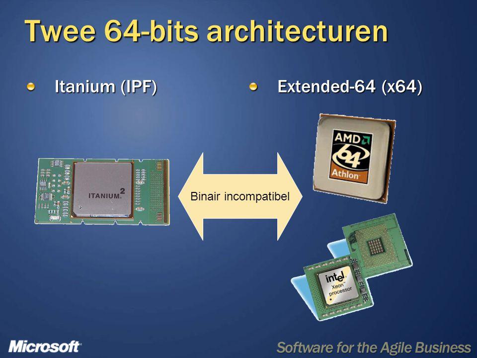 Andere adviezen Koop alleen nog x64 systemen voor technisch personeel Richt je eerst op x64, dan op IPF Versimpelt ontwikkeling Beperkt investering in IPF apparatuur Route64 workshops 4-daagse migratie workshop 25-28 April C/C++ en.NET applicaties 1-daagse compatibility workshop 28 April 32-bits applicaties op 64-bits Windows www.route64.net