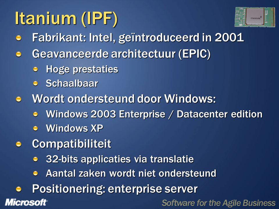 Extended-64 (x64) AMD, Intel, geïntroduceerd in 2003 Evolutionaire architectuur Zeer compatibel met 32-bits processoren Wordt ondersteund door Windows: 64-bits versies van Windows in Zomer 2005 (Werkt ook met 32-bits versies van Windows) Compatibiliteit 32-bits applicaties native op 64-bits OS 64-bits OS werkt alleen met 64-bits drivers Werkt ook met 32-bits OS Positionering: opvolger van huidige 32-bits processoren