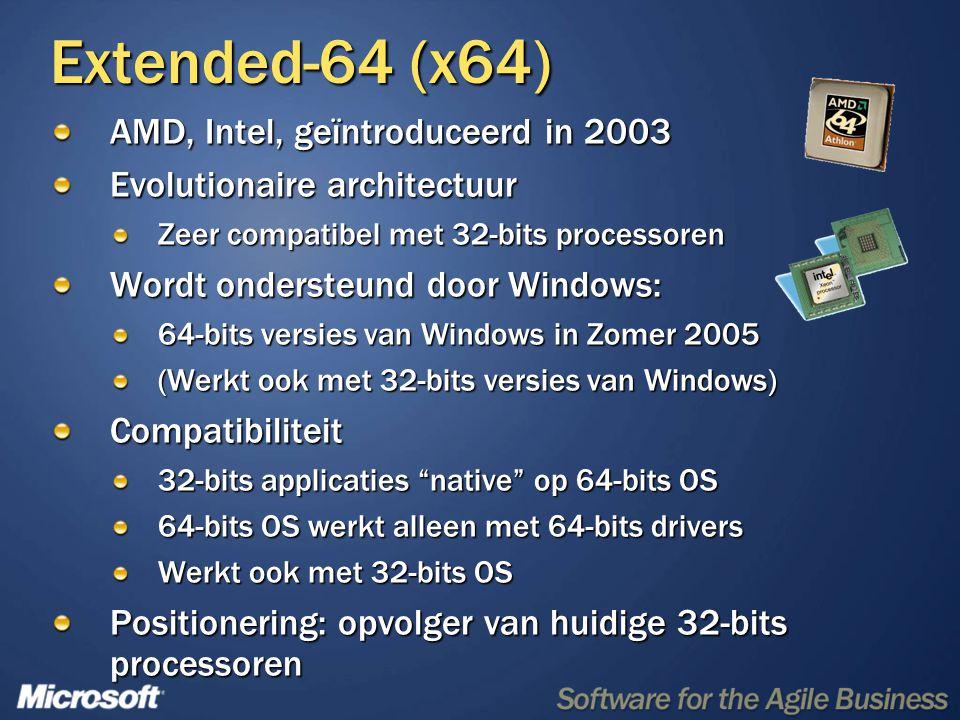 Extended-64 (x64) AMD, Intel, geïntroduceerd in 2003 Evolutionaire architectuur Zeer compatibel met 32-bits processoren Wordt ondersteund door Windows