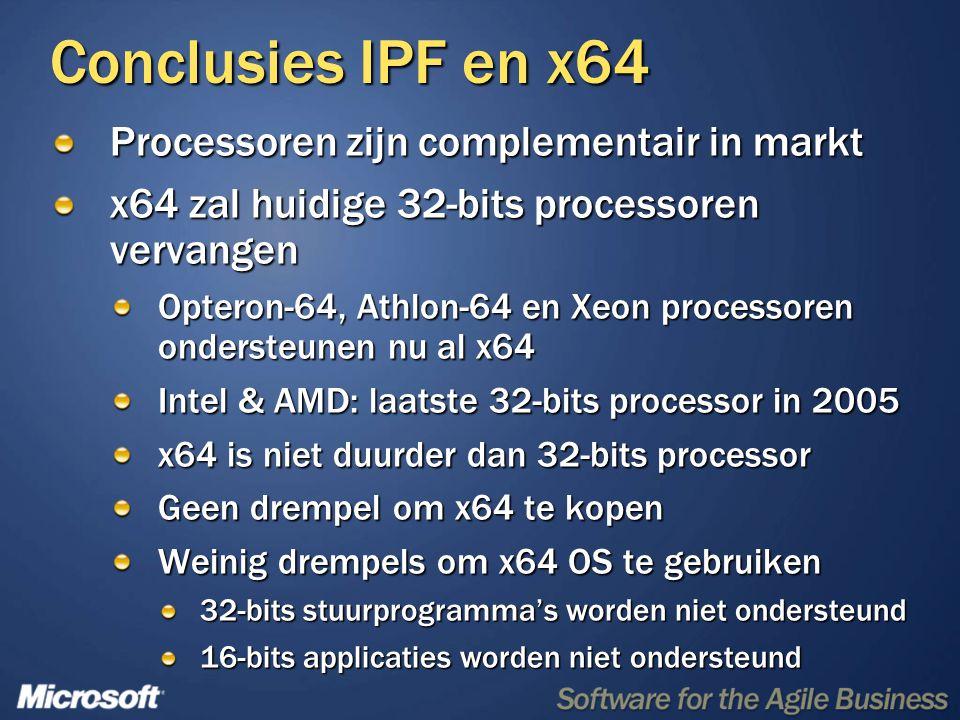 Conclusies IPF en x64 Processoren zijn complementair in markt x64 zal huidige 32-bits processoren vervangen Opteron-64, Athlon-64 en Xeon processoren ondersteunen nu al x64 Intel & AMD: laatste 32-bits processor in 2005 x64 is niet duurder dan 32-bits processor Geen drempel om x64 te kopen Weinig drempels om x64 OS te gebruiken 32-bits stuurprogramma's worden niet ondersteund 16-bits applicaties worden niet ondersteund