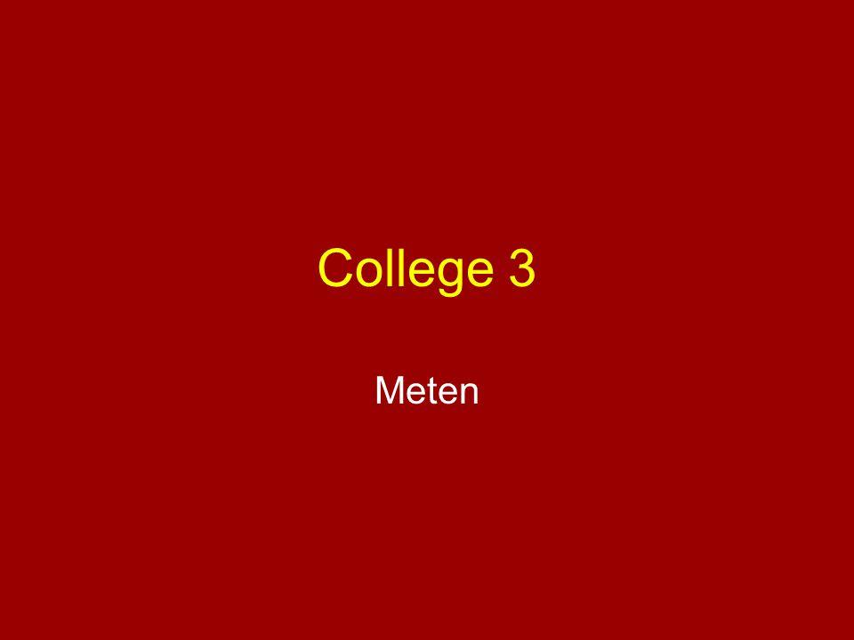 •Methode van meten –Interview •Vragenlijst –Test –Observatie •Kwaliteit van de meting –Validiteit •Inhouds - •Criterium - •Construct - –Betrouwbaarheid •Test-hertest - •Interne consistentie - •Inter-beoordelaars -