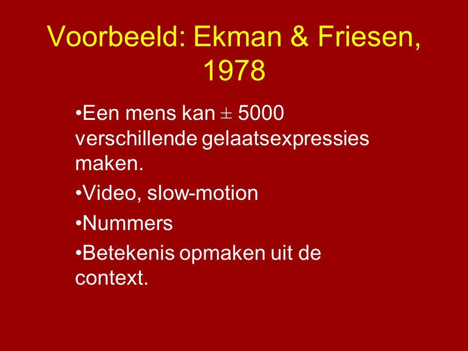 Voorbeeld: Ekman & Friesen, 1978 •Een mens kan ± 5000 verschillende gelaatsexpressies maken. •Video, slow-motion •Nummers •Betekenis opmaken uit de co
