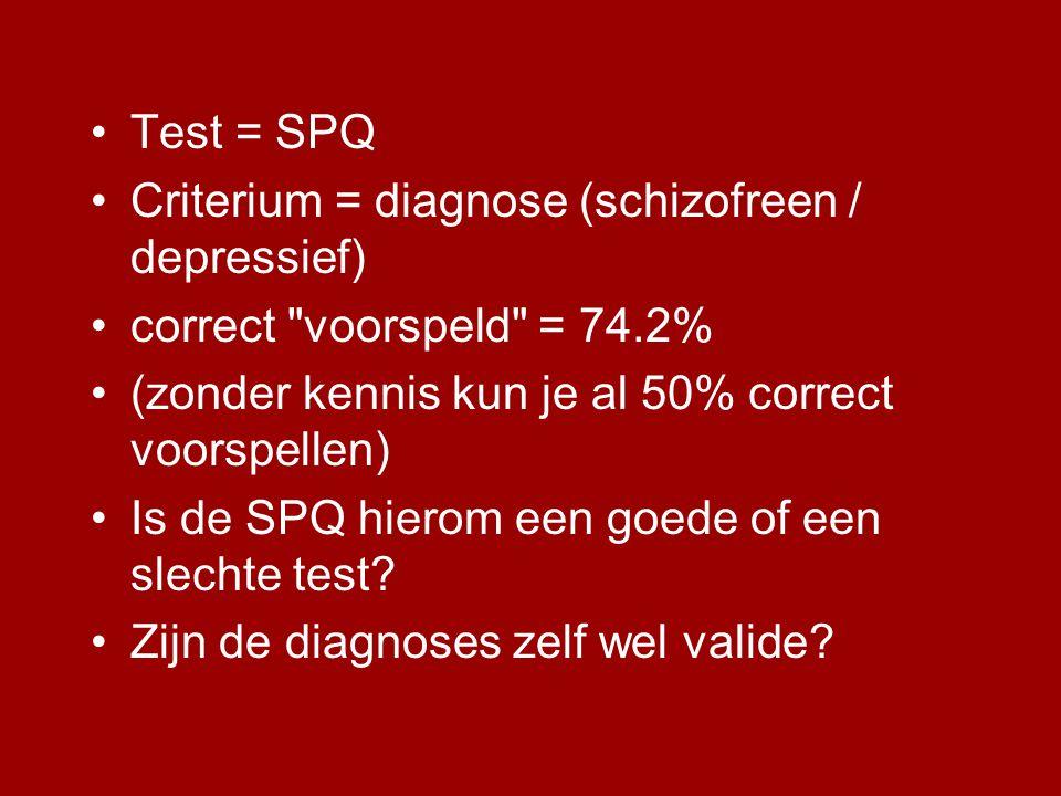 •Test = SPQ •Criterium = diagnose (schizofreen / depressief) •correct