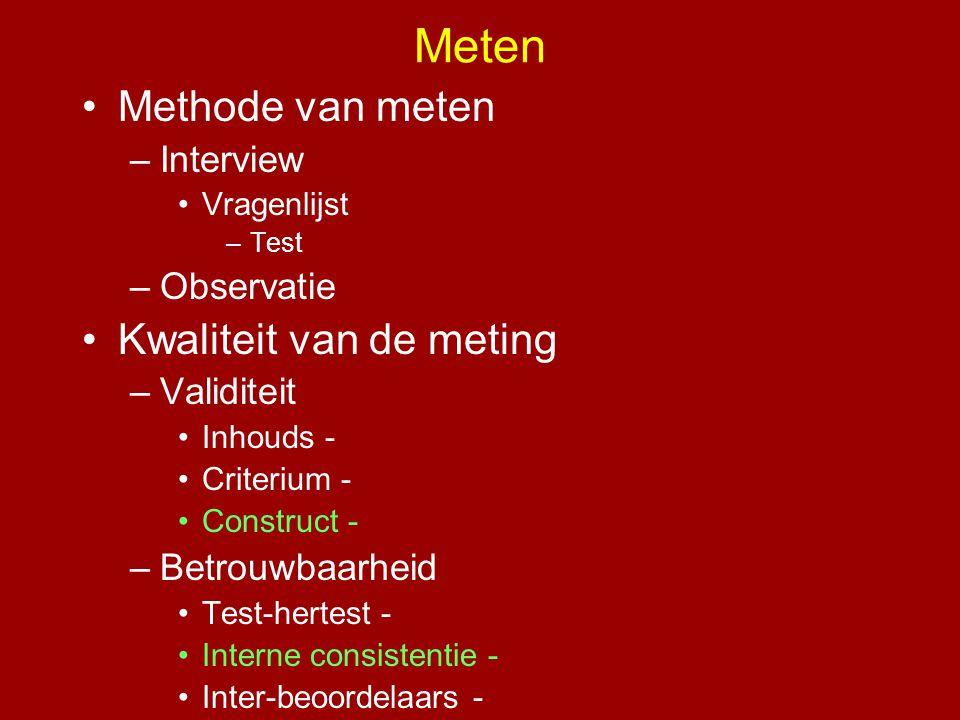 •Methode van meten –Interview •Vragenlijst –Test –Observatie •Kwaliteit van de meting –Validiteit •Inhouds - •Criterium - •Construct - –Betrouwbaarhei