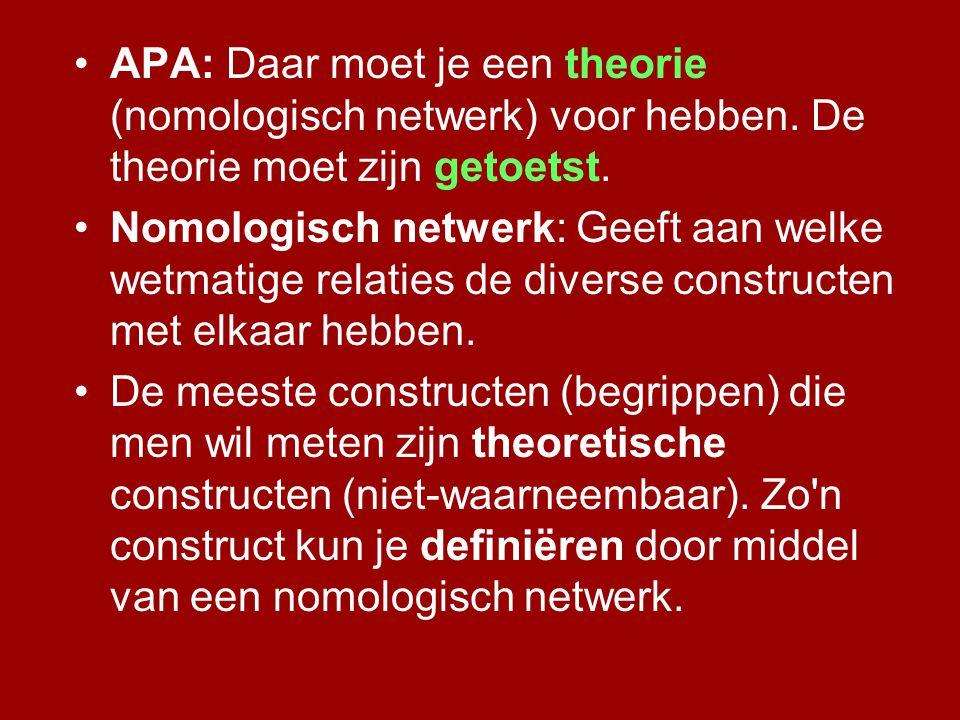 •APA: Daar moet je een theorie (nomologisch netwerk) voor hebben. De theorie moet zijn getoetst. •Nomologisch netwerk: Geeft aan welke wetmatige relat