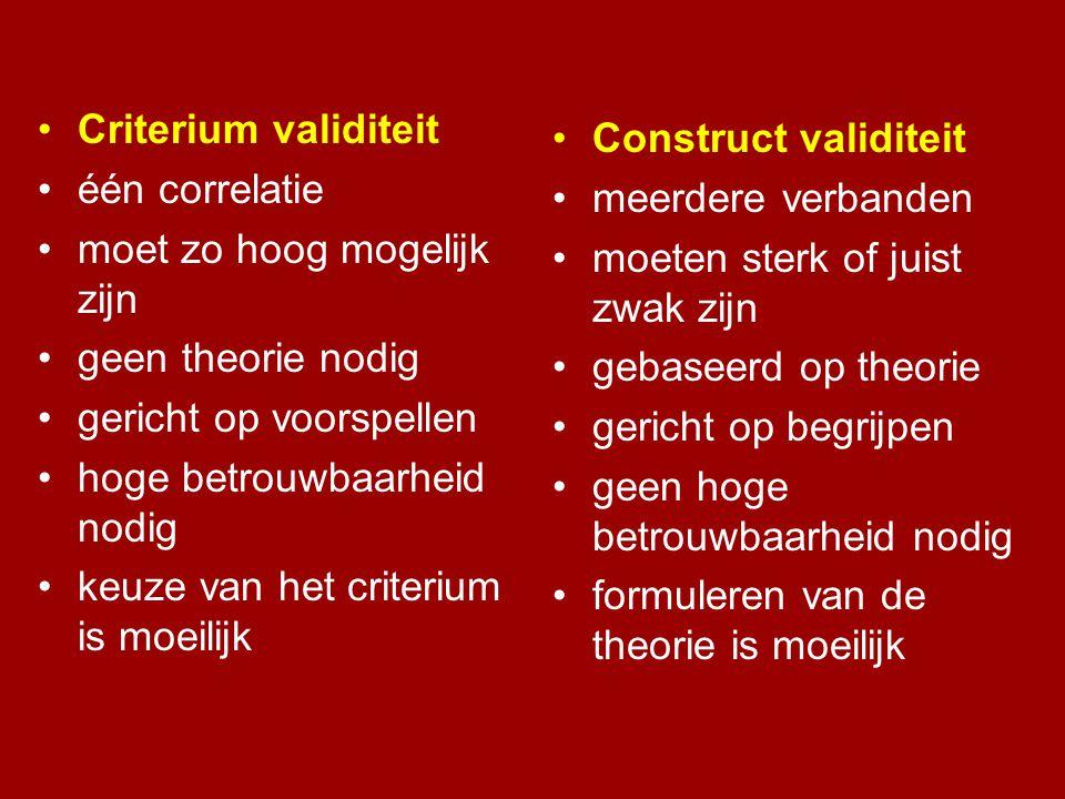 •Criterium validiteit •één correlatie •moet zo hoog mogelijk zijn •geen theorie nodig •gericht op voorspellen •hoge betrouwbaarheid nodig •keuze van h