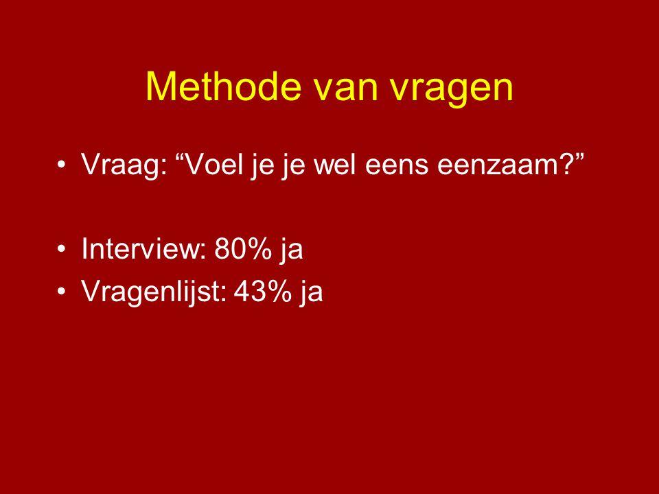 """Methode van vragen •Vraag: """"Voel je je wel eens eenzaam?"""" •Interview: 80% ja •Vragenlijst: 43% ja"""