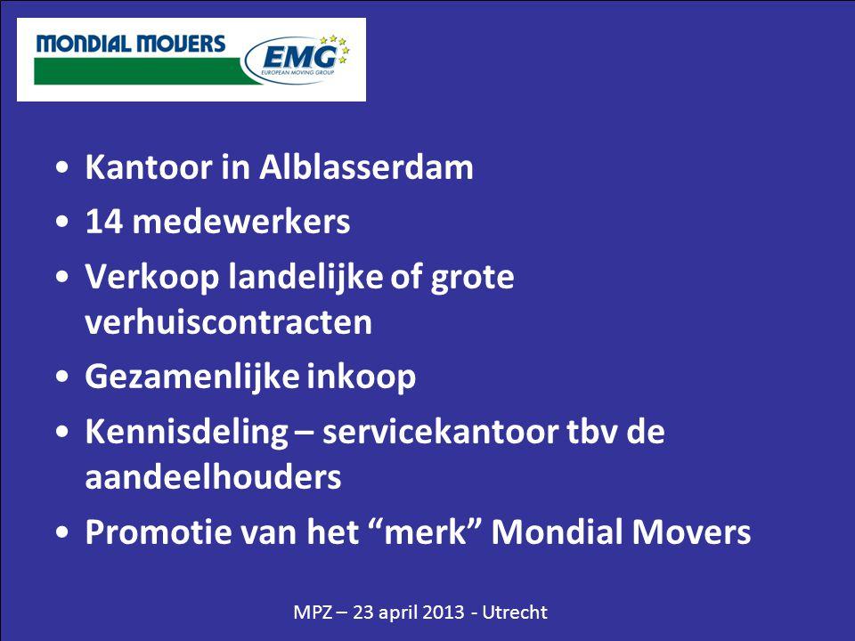 •Kantoor in Alblasserdam •14 medewerkers •Verkoop landelijke of grote verhuiscontracten •Gezamenlijke inkoop •Kennisdeling – servicekantoor tbv de aan