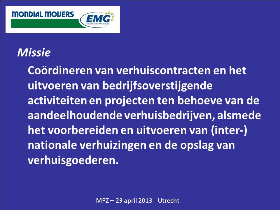 MPZ – 23 april 2013 - Utrecht Missie Coördineren van verhuiscontracten en het uitvoeren van bedrijfsoverstijgende activiteiten en projecten ten behoeve van de aandeelhoudende verhuisbedrijven, alsmede het voorbereiden en uitvoeren van (inter-) nationale verhuizingen en de opslag van verhuisgoederen.