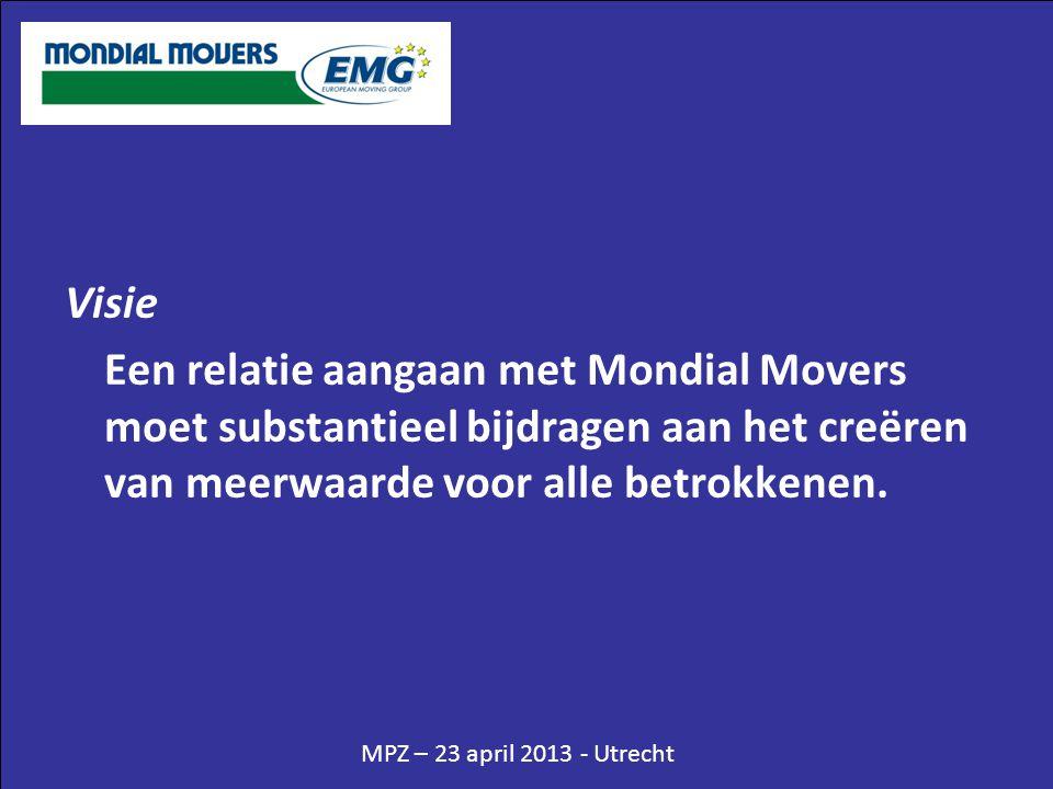 MPZ – 23 april 2013 - Utrecht Visie Een relatie aangaan met Mondial Movers moet substantieel bijdragen aan het creëren van meerwaarde voor alle betrok